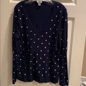 Navy sweater with silver polka dots